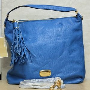Michael Kors Blue Leather Bedford Shoulder Bag